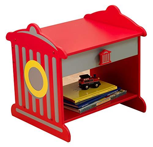 KidKraft 76024 Comodino Stile Idrante Antincendio in Legno con Cassetto, Mobili per Camera da Letto per Bambini - Colore Rosso