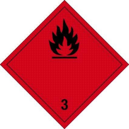 Gefahrgutschild aus Folie - Entzündbare flüssige Stoffe Klasse 3 - 30 x 30 cm