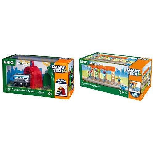 BRIO World 33834 Smart Tech Zug & Sound-Effekten – Interaktives Spielzeug empfohlen ab 3 Jahren &  World 33874 Smart Tech Waschanlage & Sound-Effekten – Interaktives Spielzeug empfohlen ab 3 Jahren
