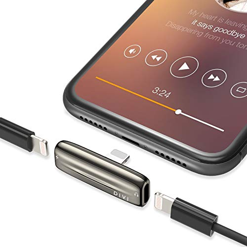 ICHECKEY Phone Kopfhörer Adapter, 4 in 1 Kopfhöreradapter (Mikrofon + Ladegerät + Call+ Musik Kontrolle) Dual Ports Adapter Splitter Kompatibel für Phone 11/XS/XS Max/X/7/7Plus/8/8Plus