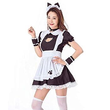 KINOMOTO Women s Cute Cat Cosplay Maid Costume Lolita Fancy Dress with Apron Black-White