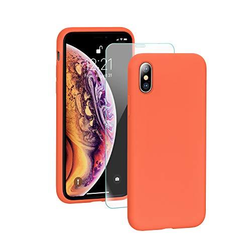 SmartDevil Cover iPhone X/XS,[Libero Pellicola Vetro Temperato] Custodia Antiurto Gomma Gel Silicio Liquido con Fodera Tessile Microfibra Morbida Custodia iPhone X/XS Silicone Protettiva