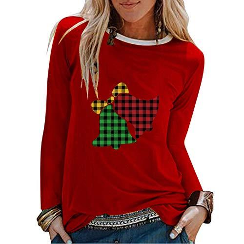 HOSD T-Shirt da Donna a Maniche Lunghe con Stampa di Due Campane