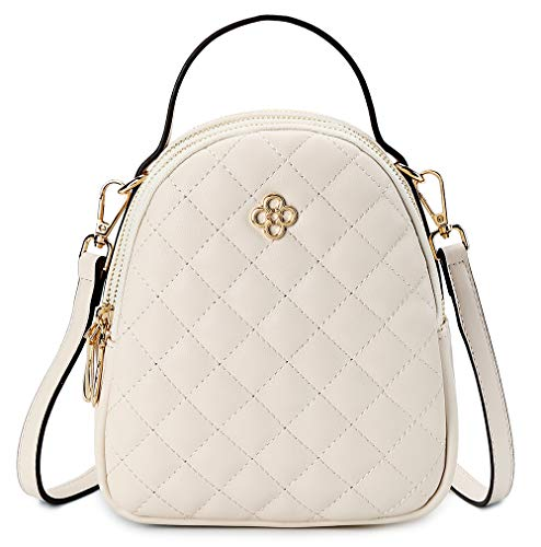 Girls Mini Backpack Purse Small Crossbody Bag Leather Women Ladies Cute Shoulder Bag Handbags Wallet White Size: 7.28'L*3.54'W*8.27'H