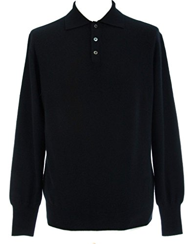 Shephe Men's Polo Cashmere Sweater with 3-Button Black Large