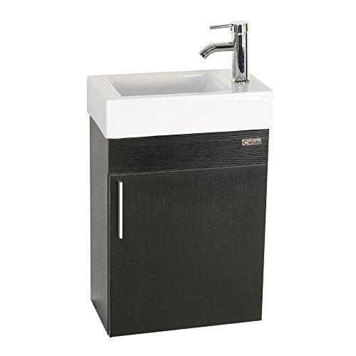 "U-Eway 18.4""x10.5"" Bathroom Vanity Cabinet Wtih Top Modern Small Vanity Set Ceramic Porcelain Sink Faucet Chrome P-Trap Pop Up Drain, 30% Water Saving Without Mirror,Wall-Mounted Style (Black Vanity)"