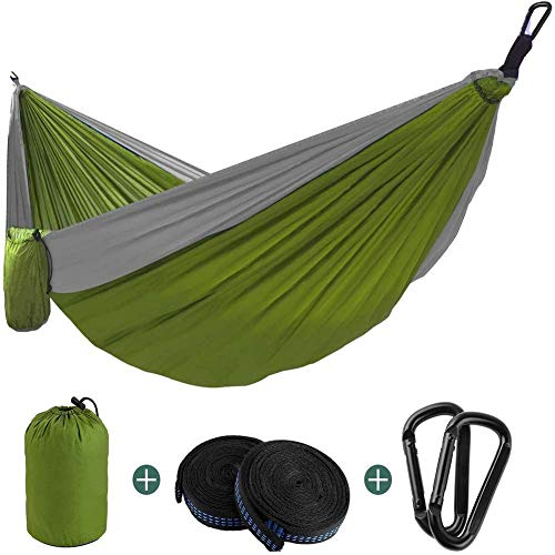 LLSS Double Hammock,Double Camping Hammock, Lightweight Outdoor Indoor Portable Hammock with,Carabiners,Durable Parachute Backpacking Nylon for Travel Hiking Fishing Adventures