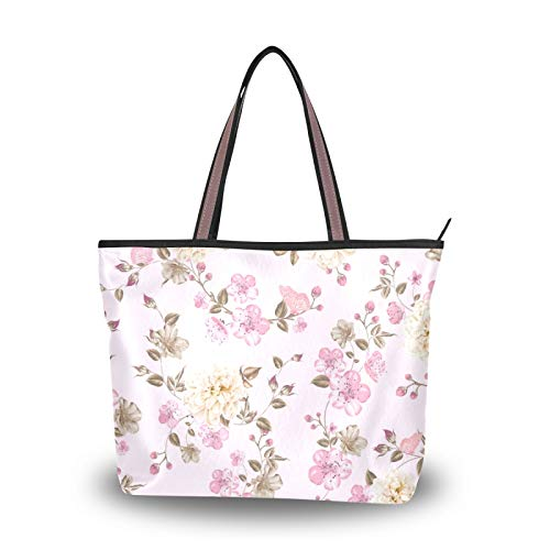 Cherry Blossom Pink Spring Tote Bag Handbags Purse Shopping for Women Girls Ladies Student Shoulder Bags Light Weight Strap