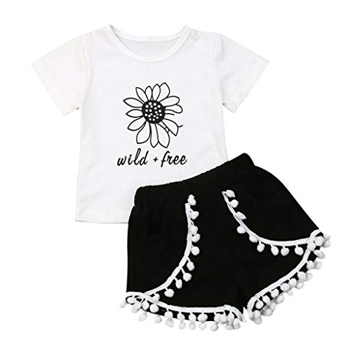 Julhold kleine kinderen baby meisjes mode vrije tijd zonnebloem brief T-shirt tops kwast shorts outfits set zomer