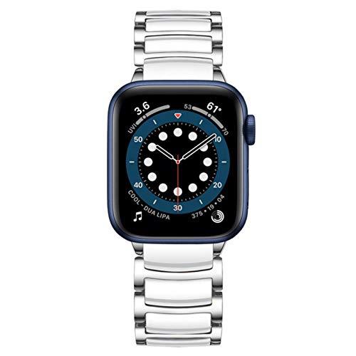 Band Pulseira para apple watch 6 band se strap 44mm 40mm cerámica de lujo pulsera de acero inoxidable para iwatch 5 4 3 42mm 38mm correa