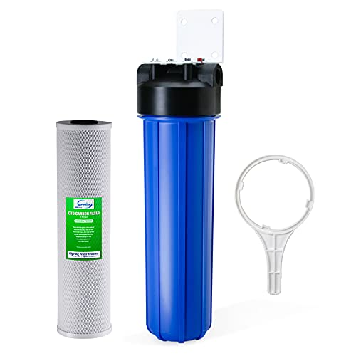 """iSpring WGB12B 1-Stage Whole House Water Filtration System w/ 20"""" x 4.5"""" Carbon Block Filter - Reduces up to 99% Chlorine"""