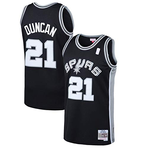 HFHDF Tim Mesh Duncan Custom San Basketball Jersey Antonio Clothing Spurs #21 Hardwood Classics Swingman Jersey Negro - Icon Edition-S