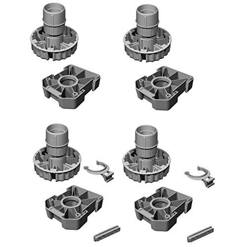 Gedotec Möbelfüße Küchen-Unterschrank Sockelfüße höhen-verstellbar Kunststoff schwarz | Stellfuß mit Höhe 80 mm | KOMPLETT SET | Verstellfüße 500 kg Tragkraft | 4er Set - Schrank-Füße für Möbel