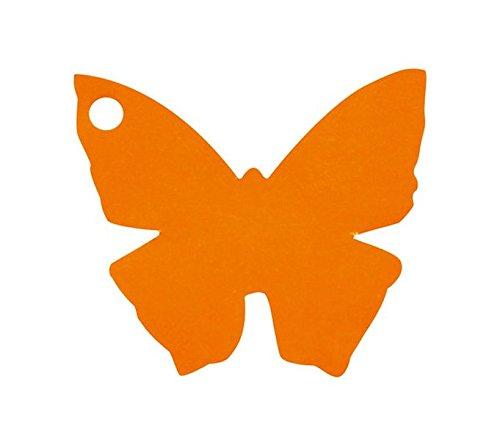 Chal - Etiquette Porte nom Papillon Orange x10