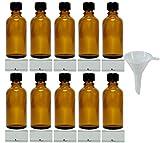 mikken – 10 bottiglie da farmacia marroni da 50 ml, made in Germany, con etichette e imbuto
