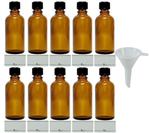 mikken 10 x braune Apothekerflasche 50ml Made in Germany, inkl Beschriftungsetiketten + Trichter