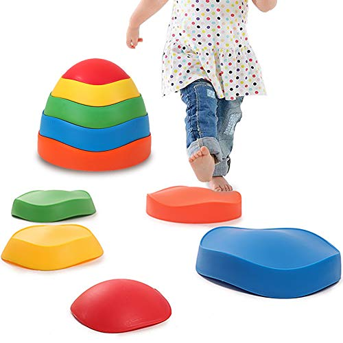 leofit Balance Stones River Stepping Stones 5-Pieces Early Kids Education Balance&Coordination Training for Indoor, Outdoor, Grass, Home, Park