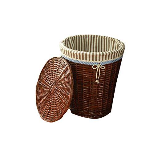 Shengluu Cesta de almacenamiento con tapa de mimbre para almacenamiento de escritorio y aperitivos, caja de almacenamiento de desechos de tela