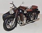 JS GartenDeko Blechmotorrad Nostalgie Modellauto Oldtimer deutsche Marke Motorrad mit Beiwagen aus Bayern Blech L 31 cm