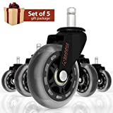 Professional Office Chair Caster Wheels Gift Set of 5 - Protect All Your Floors - 3'' Heavy Duty Replacement Rubber Desk Chair Casters - Best Protection for Your Hardwood Floors