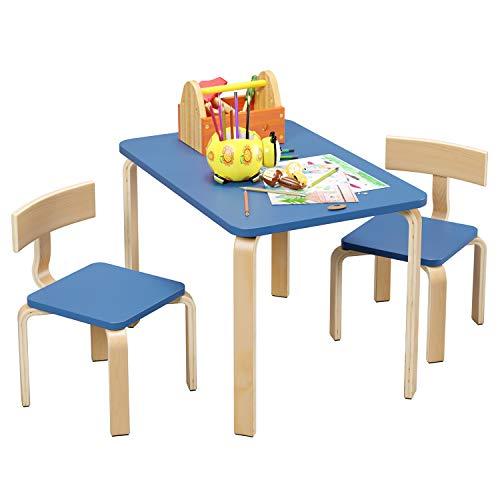 Homfa Tavolino Pittura Scrivania Per Bambini da Gioco con 2 Sedie in Legno 78.2x53.2x53.2cm (Azzurro)