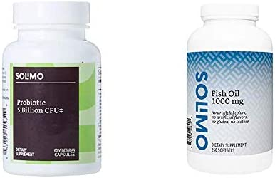 Amazon Brand - Solimo Probiotic 5 Billion CFU, 8 Probiotic strains with 60 mg Prebiotic Blend, 60 Vegetarian Capsules, 2 Month Supply, Supports Healthy Digestion