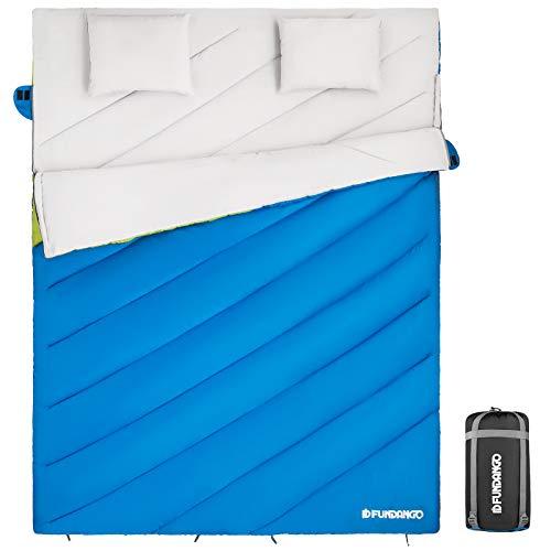 FUNDANGO XXL Breit (220x168cm) Doppelschlafsäcke für 2 Personen mit 2 Kissen für Camping im Freien Rucksackwandern Reisen ideal für Erwachsene Kinder Verwendung in 3-4 Jahreszeiten