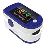 CUQOO Fingertip Pulse Oximeter, Blood Oxygen Saturation Monitor, Heart Rate Monitor, Lightweight and Portable Suitable for Health Monitoring Adult & Children (Blue)