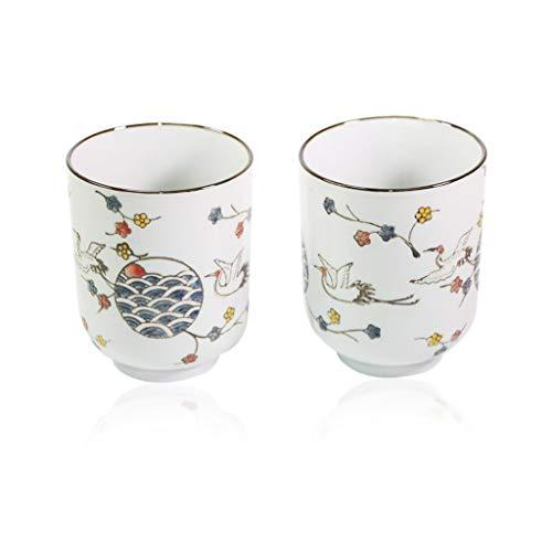 カップ Japanische 10,2cm H Porzellan Keramik grün schwarz Tee Kaffee Tasse Crane Heron Design Home Decor Geschenk f15716~ Wir zahlen Ihre Umsatzsteuer