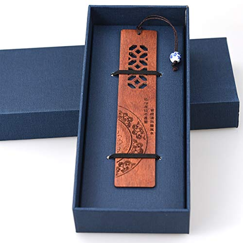 1pcs Holz Lesezeichen handgefertigte natürliche Holz Lesezeichen mit Perle personalisiert für Frauen Männer Kinder Wörterbuch mit Geschenkbox - Red Mullion