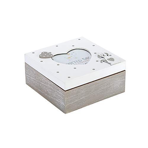 Caja de Madera con Tapa Decorada con Marco de Fotos en Forma de Corazón para Caja de Baratijas, Joyas y Recuerdos, Diseño de Perro Gris y Blanco, Regalo Originales para Mujer
