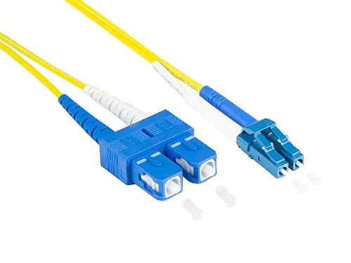 Kabelmeister Cable OS2 LWL Duplex - Conector LC a SC - Modo único 9/125 - Polaridad intercambiable - Conductor de fibra óptica, cable de conexión - 2 m - Calidad garantizada de Kabelmeister