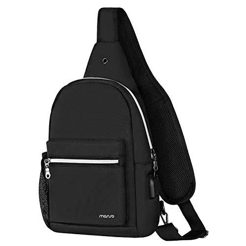 Mosiso borstzak sling schoudertas met USB-aansluiting voor opladen crossbody polyester borstzak voor mannen dames wandelen reizen rugzak dagrugzak lichte duurzame gym heuptas zadel zwart