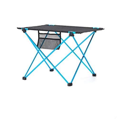 LICHUAN Mesa plegable de camping duradera con tablero de aluminio, mesa plegable fácil de llevar, ideal para exteriores, picnic, barbacoa, cocina, festival, mesa de picnic plegable (color azul)