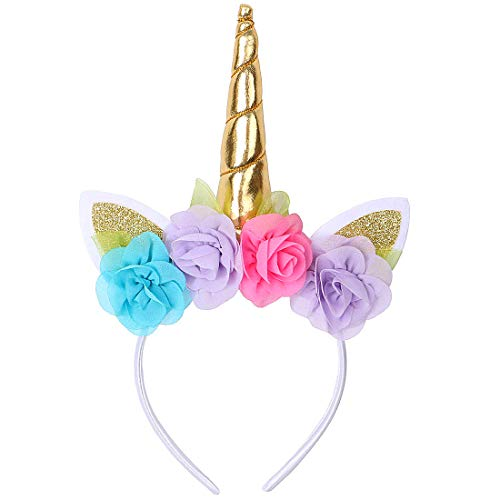 Unicorn Headband for Girls Kids Birthday Party Hairband Flower Hair Accesorries (Color 4)