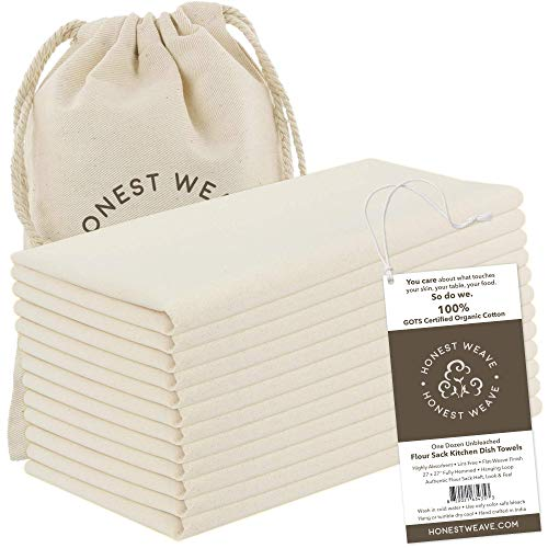 HONEST WEAVE GOTS Certified 100% Organic Flour Sack Cotton Kitchen Hand and Dish Towel Sets - Extra Large 27x27 inches, Fully Hemmed, 12-Pack, Natural Tan