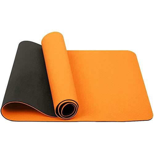 XYQS Esterilla de yoga de 6 mm de grosor antideslizante de TPE para yoga, pilates, con correa de transporte, para entrenamiento, yoga, pilates (183 x 61 x 0,6 cm) (color naranja)