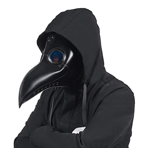 Lubber Black Raven Plague Doctor Mask Leather Costume Retro Steampunk Props for Halloween Cosplay Black