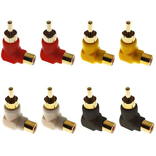 Greluma 8 STK Vergoldete RCA Cinch-Stecker auf Cinch-Buchsen, 90-Grad-Adapter mit Rechtwinkligem Winkel (4 Farben)