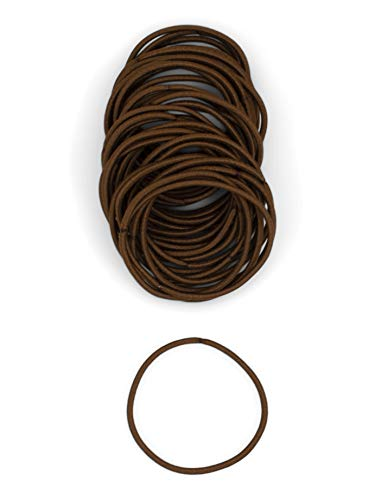 Heliums Medium Brown Thin 2mm Hair Elastics, Color Match Hair Ties for Fine Hair, 1.75 Inch Standard Size - 40 Count