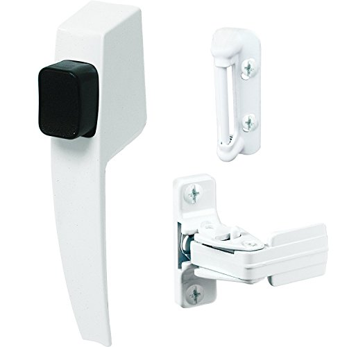 """Prime-Line K 5145 Screen and Storm Door Push Button Latch Set With Night Lock – Replace Old or Damaged Screen or Storm Door Handles Quickly and Easily – White Finish (Fits Doors 5/8"""" – 1-1/4"""" Thick)"""