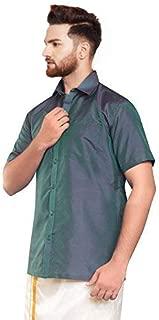 SJS-Men's Half Sleeve Solid Art Silk Shirt (Dark Slate Gray, 36)