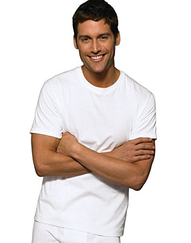 Hanes Ultimate Men's 5-Pack Tagless Comfortsoft Crewneck T-Shirt, White, Large