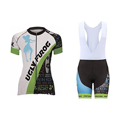 Uglyfrog 2020 Verano Mujer Modo Sport Fuera De Suave del Paño de Manga Corta de Ciclismo Maillots + Bib Pantalones de Bicicletas Bodies Triatlón Ropao SstVL01