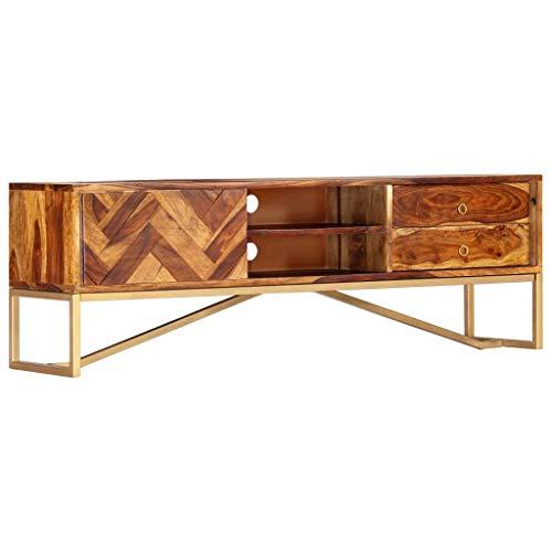 VidaXL Sheesham-hout massief tv-kast met 2 laden 2 legplanken lage kast televisiekast dressoir tv-tafel hifi-kast TV-meubel 140 x 30 x 45 cm