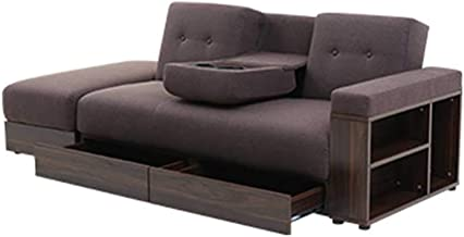 Folding Sofa Bed 3 Seater Sofabed with 2 Cup Holders & Multiple Storage Space, Recliner Linen Fabric Settee Couch for Livi...