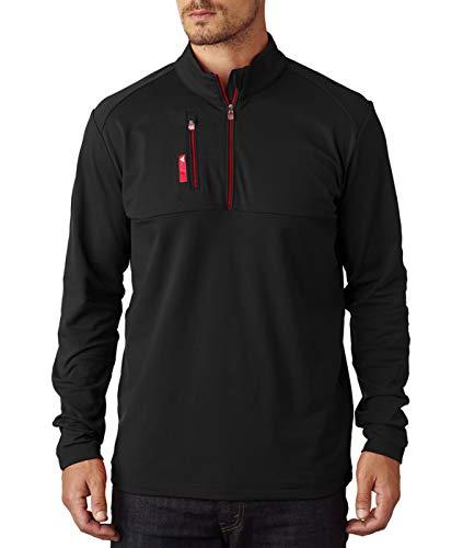 adidas Golf Mens Puremotion Mixed Media Quarter-Zip (A195) -Black/Bold -L