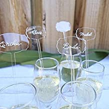 UNIQOOO 6 Inch DIY Clear Acrylic Drink Stirrers- Cocktail Swizzle Stir Sticks with Escort Place Cards- Perfect for Wedding, Birthday Parties, Bridal Shower and Holiday Event Banquet, 20 Count