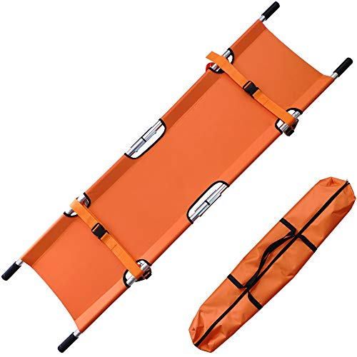Medical Emergency Folding Stretcher Aluminum Alloy Portable Stretcher with Heavy Duty Handles and Rubber Feet