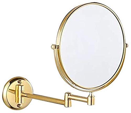 KDMB Espejo de baño Espejo de baño LED Iluminado a Prueba de Agua, Espejo de baño de 8 Pulgadas Espejo de Maquillaje Plegable Espejo de baño Colgante de Hardware (Color: A)
